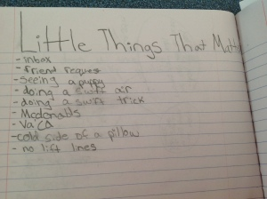 "Will's List of ""Little Things That Matter"""