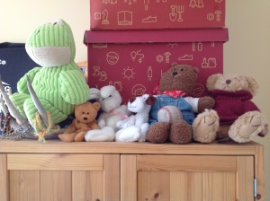 Will's Favourite Stuffies sitting on top of his armoire in his bedroom
