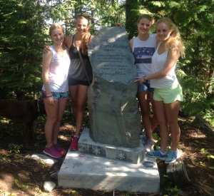 Elsy, Kathleen, Sarah, and Tess at your Memorial Rock